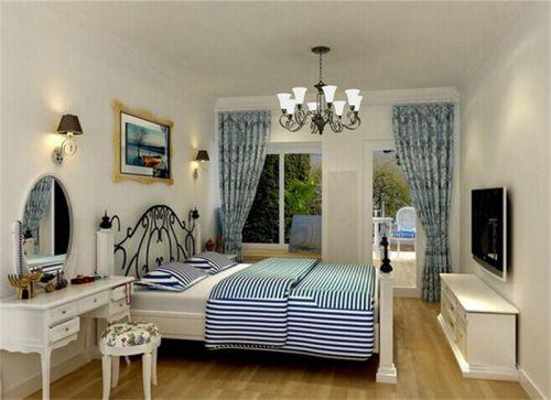 地中海风格二居室卧室窗帘装修效果图欣赏