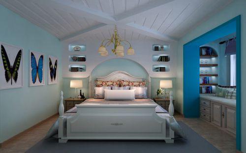 地中海风格二居室卧室窗帘装修效果图大全