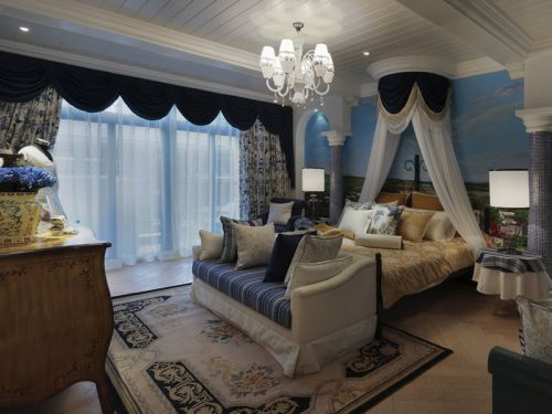地中海风格四居室卧室背景墙装修效果图大全