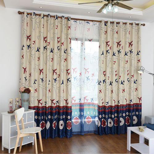 地中海风格小飞机儿童房窗帘效果图