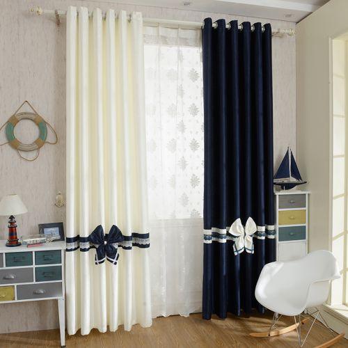 蓝色白色地中海蝴蝶结卧室窗帘效果图
