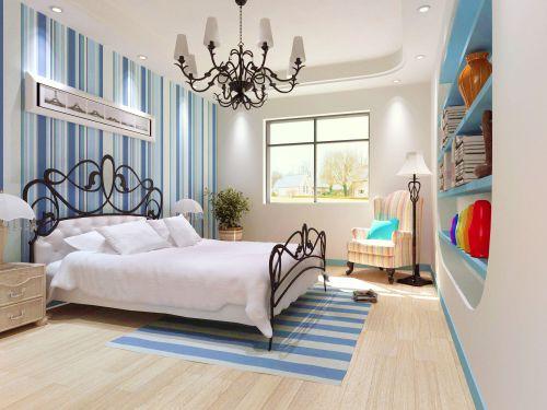 蓝白条地中海风格卧室装修效果图
