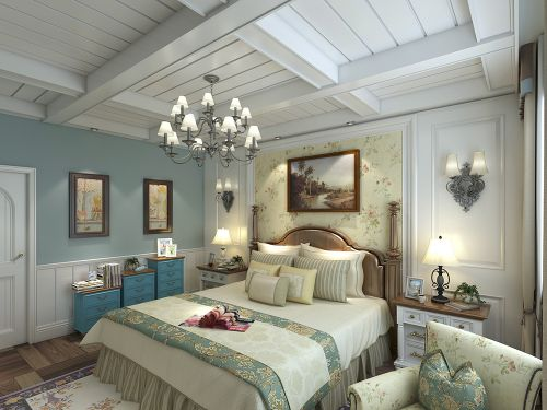 地中海风格二居室卧室背景墙装修效果图欣赏