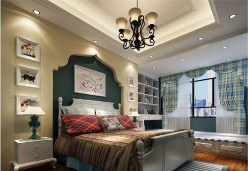 地中海风格三居室卧室背景墙装修效果图大全