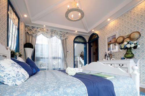 地中海风格一居室卧室床头柜装修图片