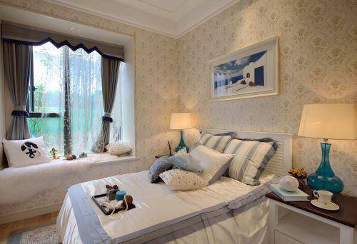 地中海风格三居室卧室壁纸装修效果图大全
