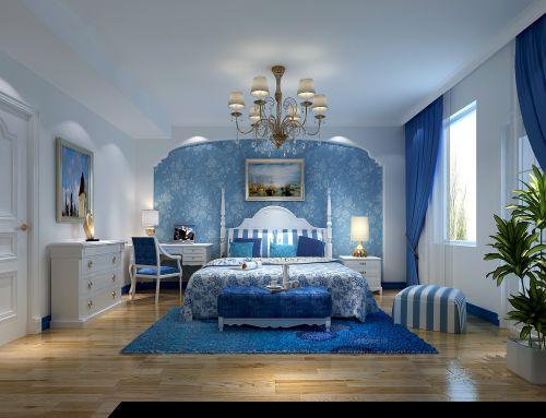 地中海风格四居室卧室窗帘装修效果图欣赏