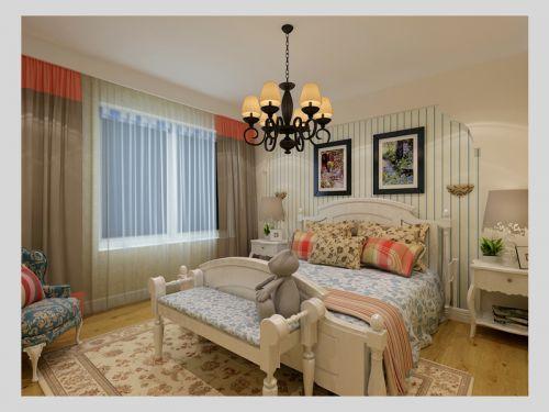 地中海风格三居室卧室照片墙装修效果图