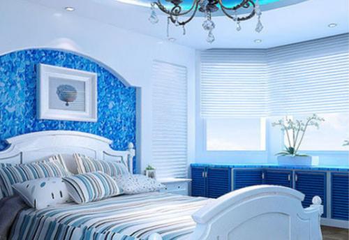 地中海风格二居室卧室床装修效果图