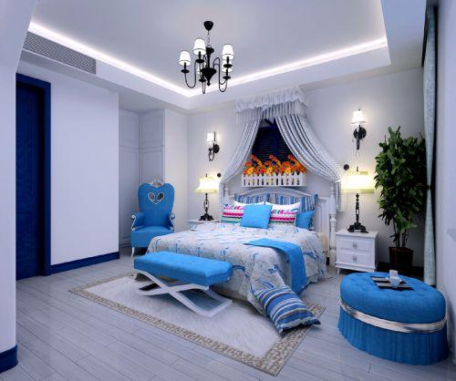 地中海风格三居室卧室床装修图片