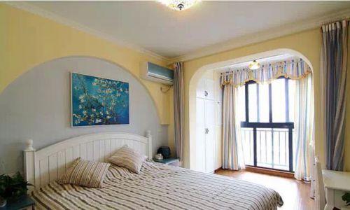 地中海风格二居室卧室背景墙装修图片