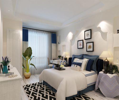 地中海风格三居室卧室背景墙装修效果图欣赏