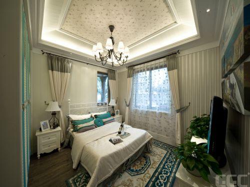 地中海风格三居室卧室窗帘装修效果图大全