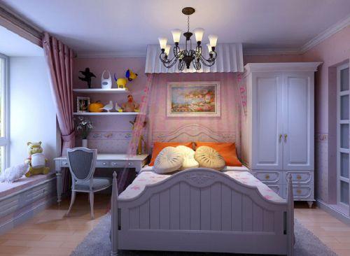 地中海风格三居室卧室壁纸装修图片