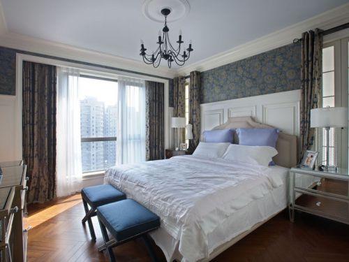地中海风格二居室卧室窗帘装修图片