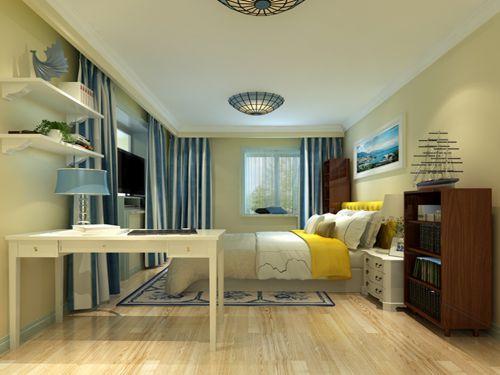 地中海风格三居室卧室床头柜装修效果图
