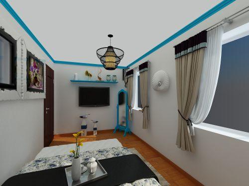 新中+地中海一居室卧室装修效果图