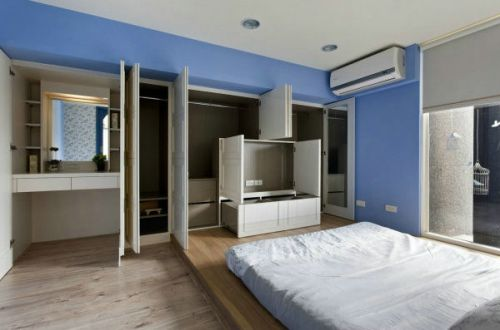 地中海风格一居室卧室衣柜装修效果图