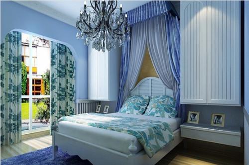 地中海风格一居室卧室床装修效果图大全