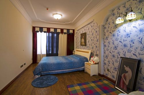 清新素雅地中海风格卧室背景墙装修设计