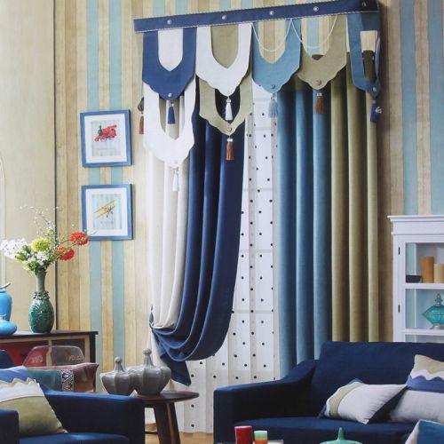 蓝色地中海风格拼色窗帘效果图