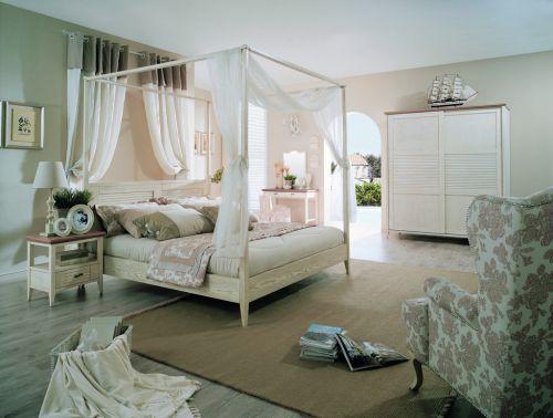 白色自然地中海风格卧室效果图