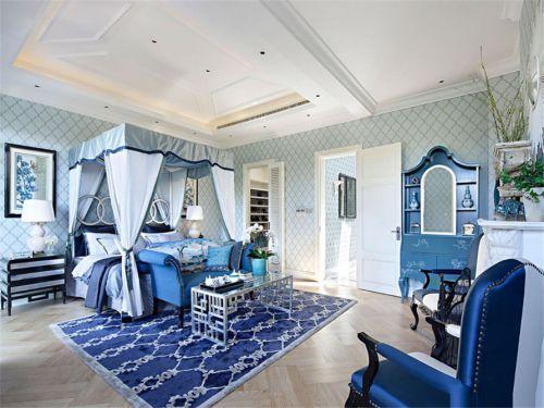 地中海风格三居室卧室蓝色壁纸装修效果图