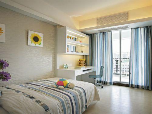 地中海风格卧室米色纹理壁纸装修效果图