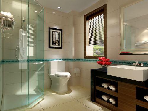 现代简约风格卫生间透明淋浴间效果图