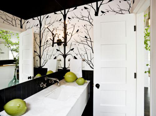 现代简约风格卫生间黑白壁纸装修效果图