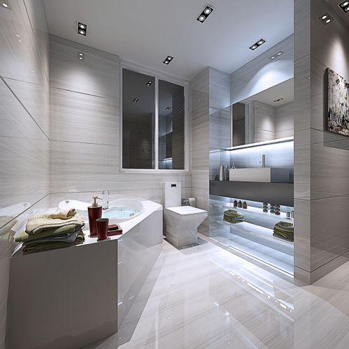 现代简约风格瓷砖卫生间浴缸洗手台设计
