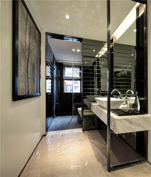 现代风格卫生间洗手台装修实景图