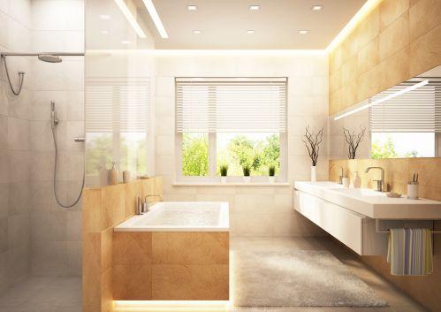 三居室现代风格隔断式卫生间淋浴间效果图