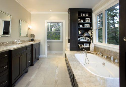 高档别墅现代卫生间大理石浴缸设计效果图