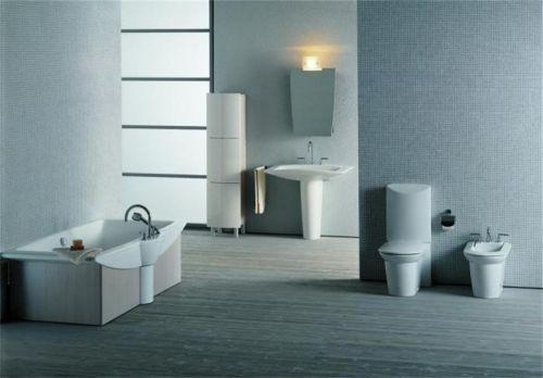 三居室现代极简卫生间浴缸效果图
