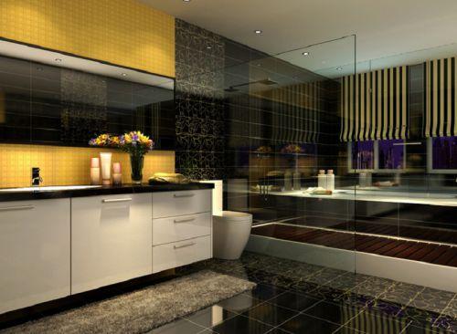 现代简约四居室卫生间吊顶装修效果图