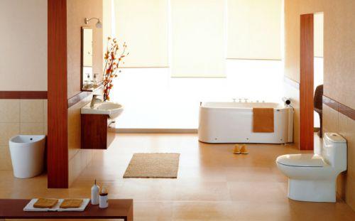 现代风格别墅原木色卫生间浴缸效果图