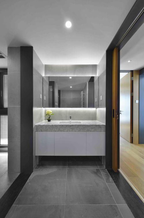 雅致黑色现代风格卫生间洗手台装修设计