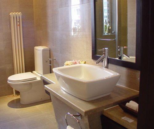 现代简约风米色卫生间方形台上盆洗手台