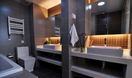 现代风格卫生间洗手台隔断设计效果图