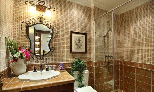 别墅现代风格卫生间白色花瓣洗手台设计图