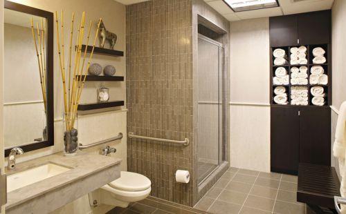 现代简约风格时尚卫生间黑色储物柜效果图