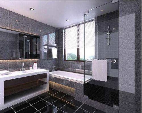 现代风格灰色调卫生间浴缸装修效果图
