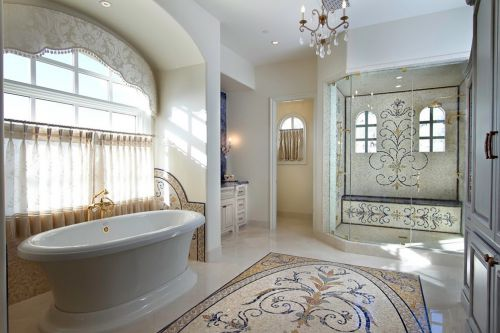 现代风别墅卫生间白色浴缸设计效果图
