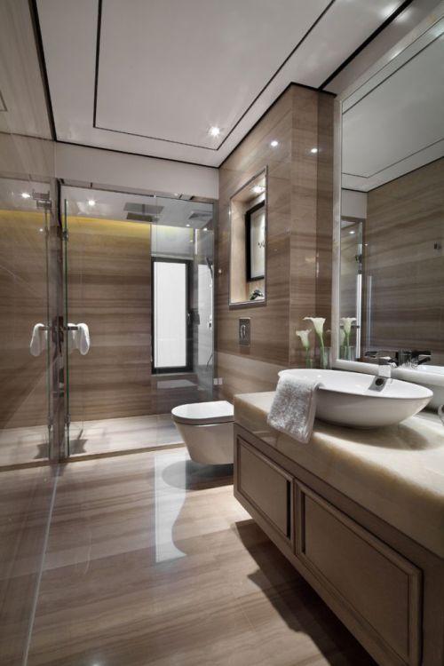 现代简约风格大理石卫生间洗手台储物柜设计