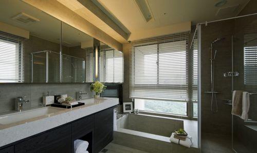 现代简约风格卫生间双盆台下盆洗手台效果图