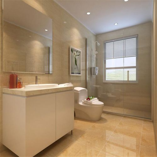 现代简约三居室卫生间浴室柜装修效果图