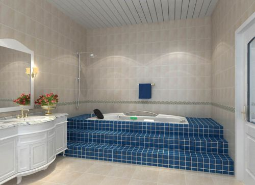 现代简约三居室卫生间浴缸装修效果图欣赏
