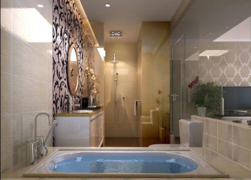 现代奢华四居室卫生间浴缸装修图片