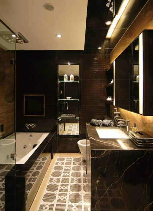 现代简约四居室卫生间梳妆台灯具装修图片